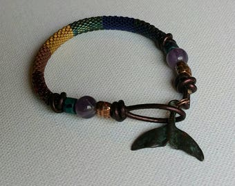 Rainbow Peyote Whale Tail Bracelet
