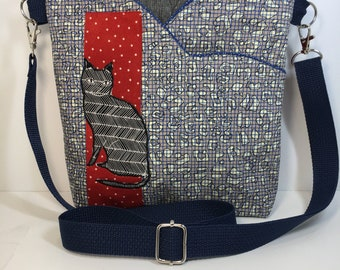 Hipster~CAT LOVER~CROSSBODY Bag~Linen Blend~Quilted~ Handbag~Cross Body Bag ~Shoulder Bag~Travel Bag~ Bags & Purses~Handbags~Handmade Bag