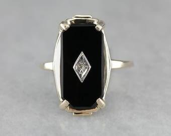 RESERVED - LAYAWAY for Cristi - Do Not Purchase!! - Ladies Classic Black Onyx Ring, Vintage Diamond Black Onyx Ring YXA8UQ-D