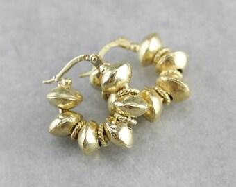 Fine Gold Beaded Hoop Earrings, Bohemian Jewelry CHA7DJ4X-R