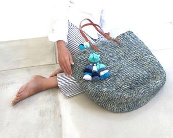 Raffia Tote, Woven Straw Tote, Shopping Bag with Tassel, Straw Beach Bag
