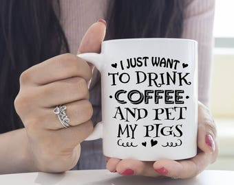 Gifts for Pig Lover, Pig Gifts, Crazy Pig Lady, Coffee and Pigs, Backyard Pigs, Free Range Animals, Farm Mugs, Sarcasm, Pig Humor, Sarcastic