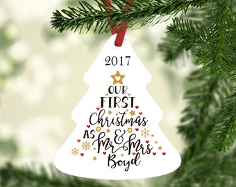 Mr and Mrs Ornament, Personalized Christmas Ornament, Our First Christmas, Gift for Newlywed, 2017 Ornament, 2017 Christmas, Gay Ornament
