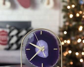 Agate Clock,Modern Purple Boho Agate Clock,Desk Clock,Modern Clock,Agate Desk Clock,Boho Decor,Clock,Gift for Her,Gift for Him,Agate Decor