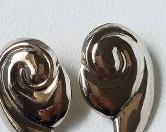 Vintage 1970's Silver Swirl Earrings, Pierced Ears, Silver Tone Chunky Earrings, Silver & Bold Earrings, 1970's Silver Swirl Earrings
