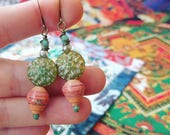 Tibetan Book of the Dead Art Book Paper Bead Earrings Color Stacks