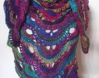 Crochet Shawl, Crochet Wrap, Knit Shawl, Knit Scarf, Knit Wrap, Rainbow Shawl, Triangle Shawl, Lacy Rainbow, Stained Glass, Gift For Her