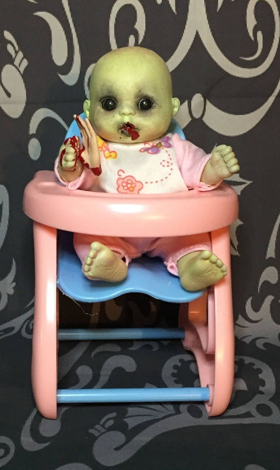 Mini Zombie Eating Finger Food In High Chair Original Undead Christmas Black Eyed Mini Doll Set Biohazard Baby