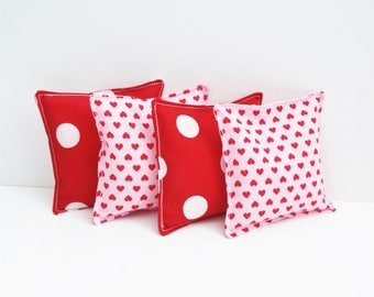 4 Valentine Bean Bags - WASHABLE - Kids Bean Bag Toss Game - Heart Beanbags - Valentine Classroom Party Games - 4 Inch - School Party