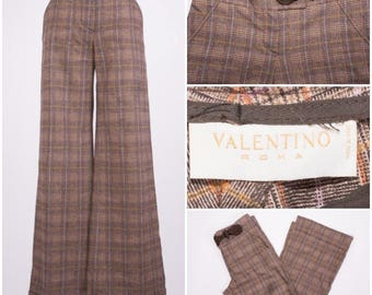 VALENTINO High Waisted Plaid Print Slacks with Bell Shaped Bottoms & Braided Rope Closure