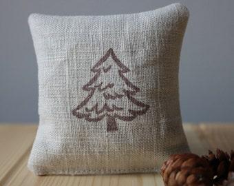 Balsam fir linen sachet hand stamped with a pine tree