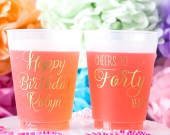 40th Birthday Cup, 40th Birthday Party, Cheers to 40 Years, Frosted Cups, Personalized Cups, Custom Cups, Birthday Decor, Happy Birthday
