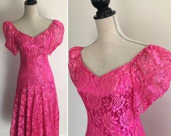 Vintage Nu-Mode Dress, Pink Lace Dress, 80's Lace Dress, Long Lace Dress, Pink 80's Dress, 1980's Dress, Nu-Mode Dress, Hot Pink Dress