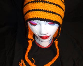 Hand Crocheted Tiger Hat with Ear Flaps and Braids