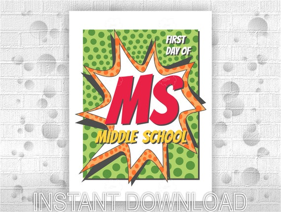 Printable poster First Day of Middle School - instant download