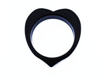 Black Heart Bangle Bracelet, Chunky Black Bracelet