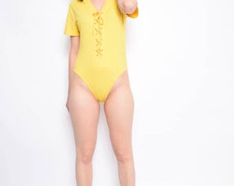 Vintage 90's Yellow Lace Up Leotard / Yellow Tight Bodysuit / Short Sleeve Cotton Leotard - Size Large