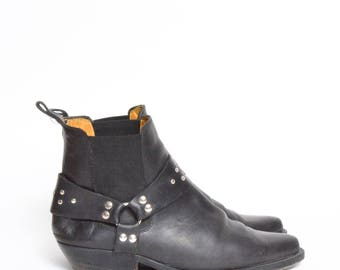 Vintage 90's Black Real Leather Biker Motorcycle Ankle Boots