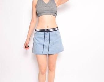 Vintage 90's Blue Denim Mini Skirt / Sports Jean Skirt - Size Medium