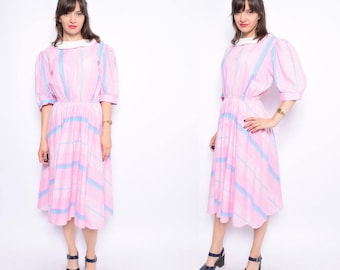 Vintage 80's Pink Long Dress / Big Sleeve Pink Dress - Size Large