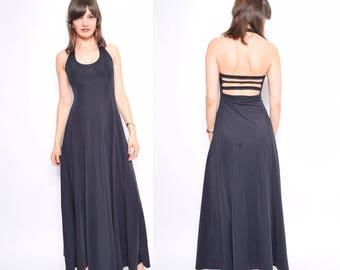 Vintage 90's Backless Black Long Dress / Black Spandex Maxi Dress / Black Cage Dress - Size Small