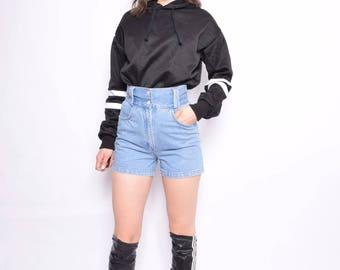 Vintage 90's High Waist Denim Shorts / Light Blue Jean Shorts - Size Extra Small