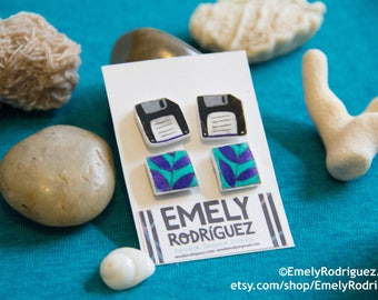 Green-Purple Leaves Pattern Square and Floppy Disk Stud earrings set