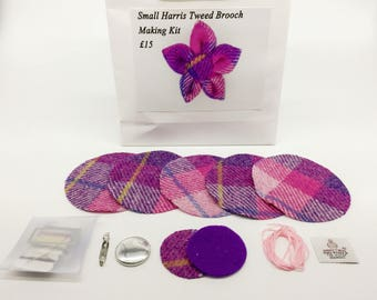 Small Pink and Purple check Harris tweed brooch making kit