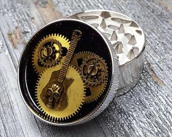 Steampunk Metal Herb Grinder - Steampunk Skull Guitar Spice Crusher -mint grinder -
