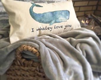 Whale nautical nursery decorative pillow decor, fun kids bedding, ocean sea life kids animal nursery pillow, nautical whale decor, baby gift