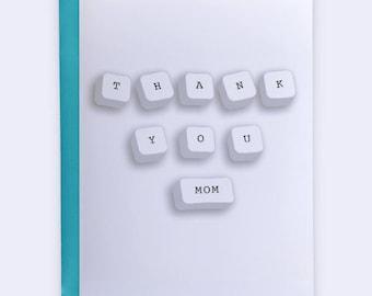Thank You Card, Mom Greeting Card, Customizable Mother's Day Card, Mom's Day, Mom Thank You Card, Animal Charm