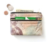 Abstract Pastel Wallet Coin Purse Double Zipper Pouch