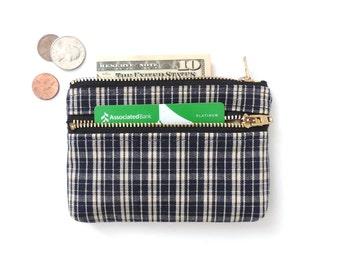 Wallet Coin Purse Double Zipper Pouch Plaid Blue