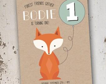 Fox Birthday Invitation 5x7: Printable and Customizable