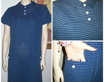 Vintage Sailor Navy Blue with White Polka Dots 1970's Scooter Comfy Dress / Pullover Women's Dress L