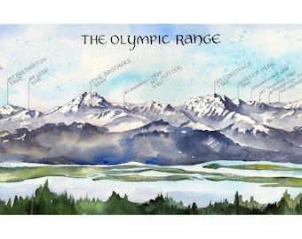 The Olympic Range Watercolor Illustration Olympic Peninsula Mountains Olympics Mountain Range Chart Washington Mountains Wall Art Print