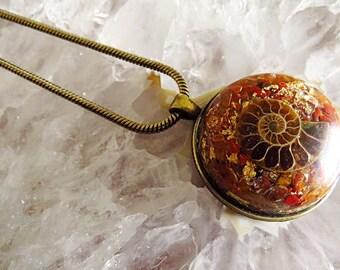 Powerful Orgone Pendant - Red Jasper/Red Carnelian/Clear Quartz/Ammonite - FREE WORLDWIDE SHIPPING!