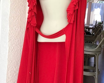 Ralph Lauren Full Wrap Dress Jersey Puff Sleeves Rust Size S 4-8