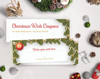 Editable Christmas Gift Coupons Book /Voucher - Printable PDF with Editable Text - Instant Download