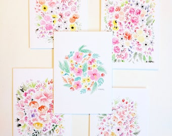 Watercolor Floral Cards - Set of 5 Notecards - Stationery Gift Set