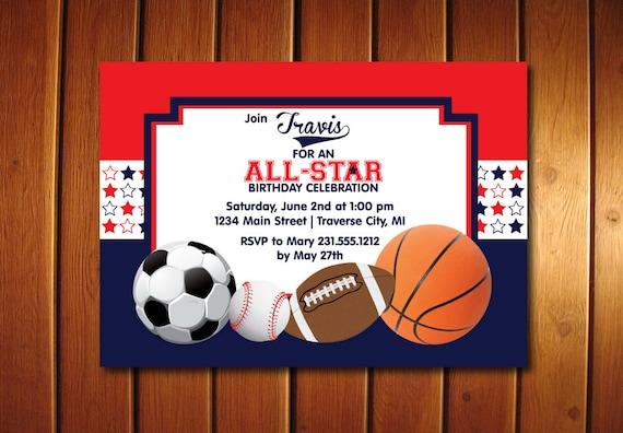 All Star Birthday Invitation All Star Invitation Printable Sports