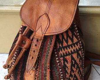 Leather and Kilim Mini Backpack Vintage / Moroccan Kilim Rucksack / Carpet Bag / Vintage Kilim / Shoulder Bag / Festival Bag