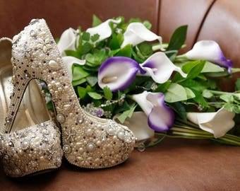 ivory pearl customised platform heels rhinestone bling diamante wedding bridal shoes high heels ladies womens designer footwear bespoke