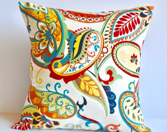 One paisley multi-color pillow cover, cushion, decorative throw pillow, decorative pillow, 18x18