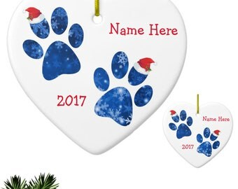 Paw Print Personalized Christmas Ornament - Pet Lover Ornament - Christmas in July - Pet Lover Keepsake R - Cat Ornament -Dog Lover Ornament