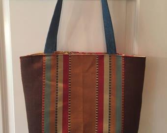 Shawna Bag - Recycled Denim - Blue, Brown, Red, Tan