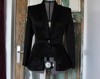 Tuxedo peplum jacket, women's blazer,  black peplum jacket, women's clothing, wedding jacket, shawl collar peplum blazer, black jacket,