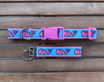 Preppy Whales Christmas Dog Collar With Matching Key Fob