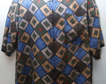 "Rare 90's Vintage ""JAZZMAN"" 100% Silk Short-Sleeve Abstract Patterned Shirt Sz: X-LARGE (Men's Exclusive)"
