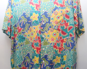 "Rare 80's Vintage ""COLOURS By ALEXANDER JULIAN"" Abstract Patterned Short-Sleeve Colorful Funky Shirt Sz: X-Large (Men's Exclusive)"